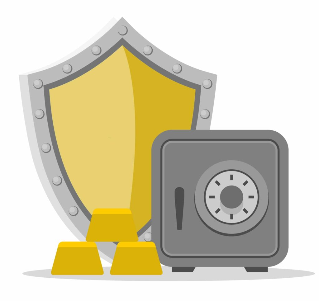 Vector illustration of a safe, shield, and gold bars laid next to each other